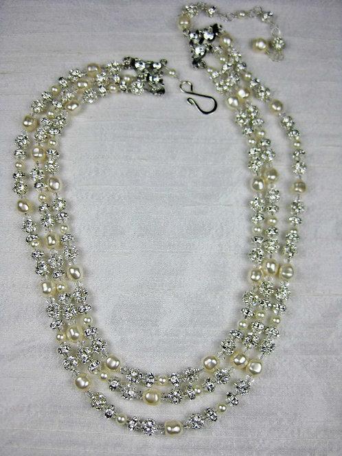 Grace 3 Strand Bridal Necklace