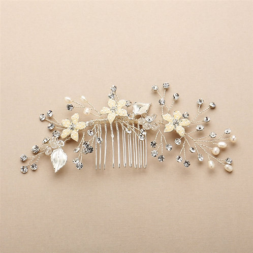 Silvery Gold Leaves Bridal Hair Comb