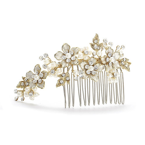Delicate Pearl Garden Bridal Hair Comb- Gold Sample