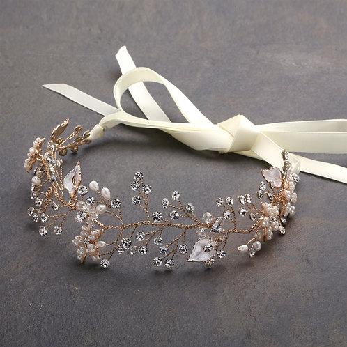 Persephone Gold Bridal Headband- Sample