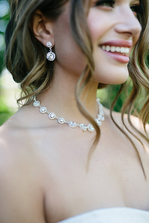 Merlot Bridal Necklace and Earrings Set