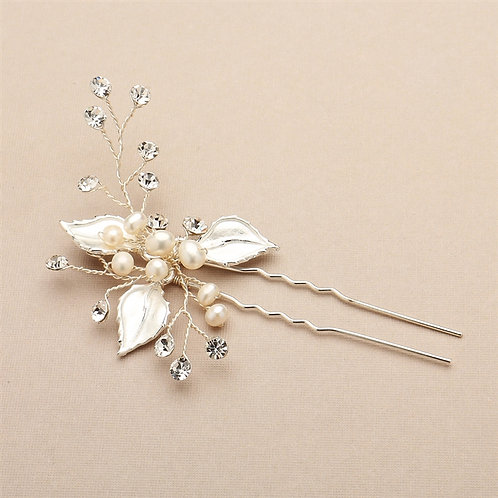 Silvery Gold Leaves Bridal Hair Pin