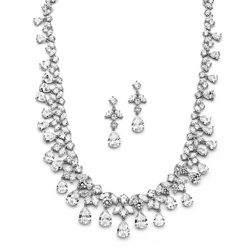 Leigh Bridal Necklace and Earrings Set- Silver Sample