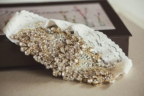Gold and Ivory Wedding Garter