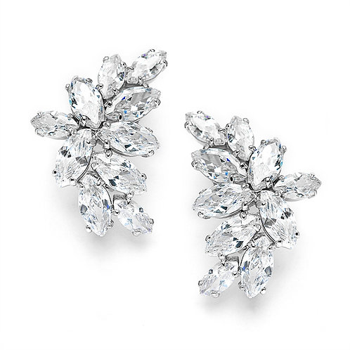 Cubic Zirconia Marquis Cluster Clip-On Earrings