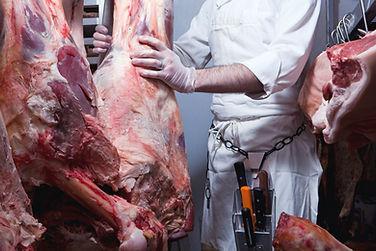 Butcher Hanging Rindfleisch