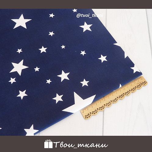 Сатин звезды на синем