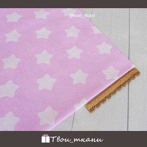 Бязь пряничные звезды на розовом