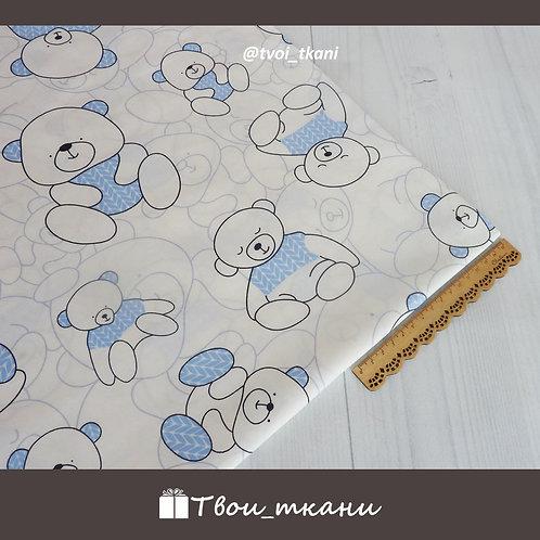 Сатин мишки в голубых свитерах