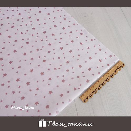 Звезды розовое золото на белом