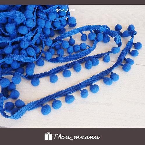 Тесьма с помпонами 12мм синий