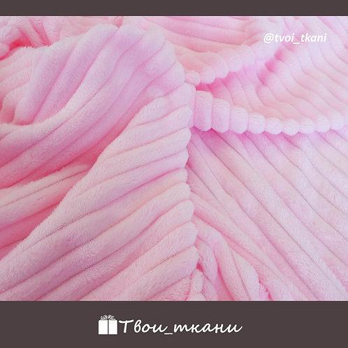 Плюш страйп розовый
