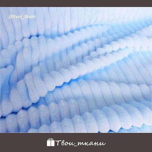 Плюш страйп голубой