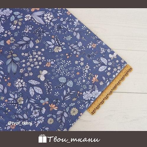 Сатин цветы на синем
