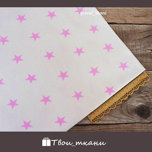 Бязь звезды розовые