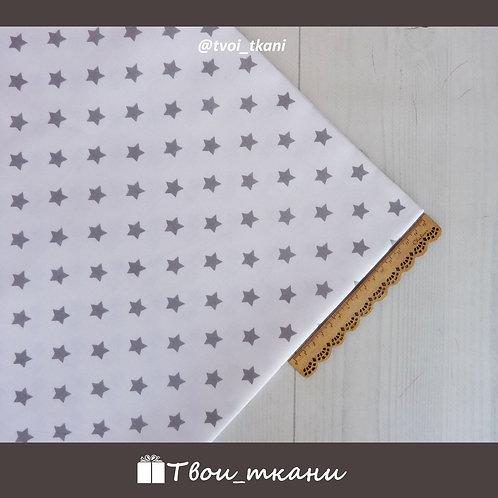 Поплин серые звезды на белом