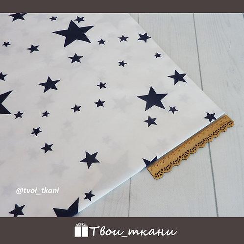 Сатин синие звезды на белом