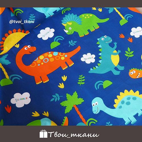 Сатин динозавры на синем