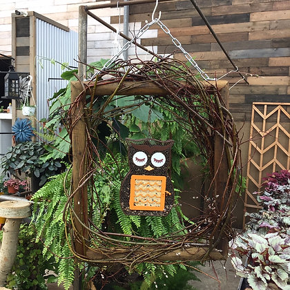 Willow Frame with Owl Bird Feeder - PICK UP ONLY!