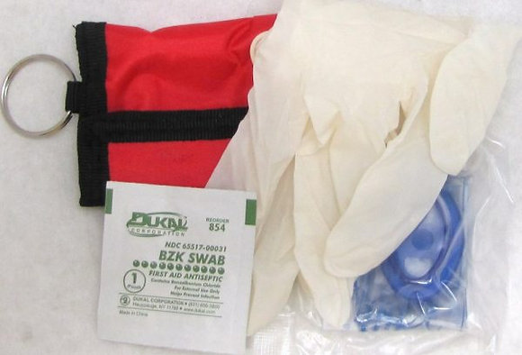 CPR Mask, with Pouch, Gloves & Wipe