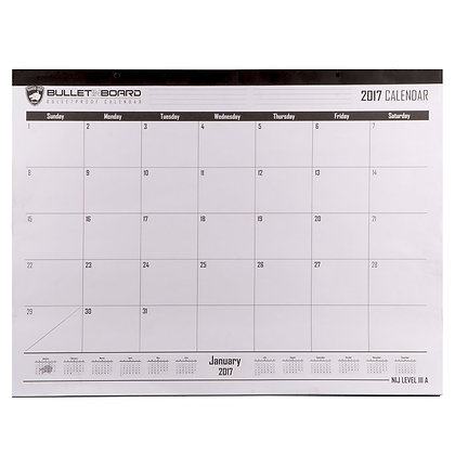 Level IIIA Bulletproof Desk/Wall Calendar