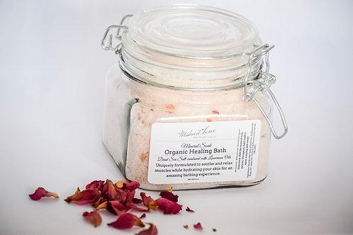 Organic Healing Bath Salts in Glass