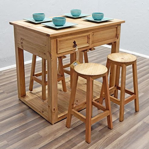MD Rustic Island with Stools