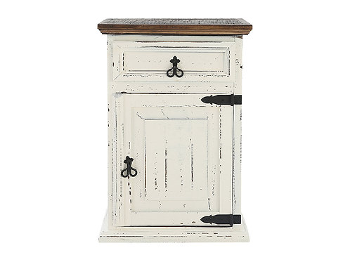 Rustic Weathered White/Coffee Night Stand
