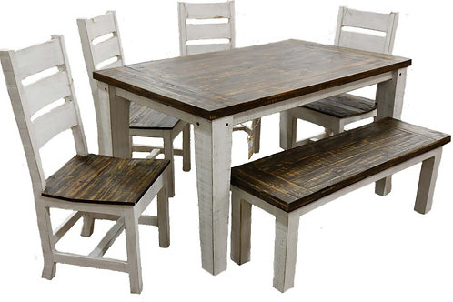 MD Rustic Weathered White/Coffee Econo 5 ft Dining Group