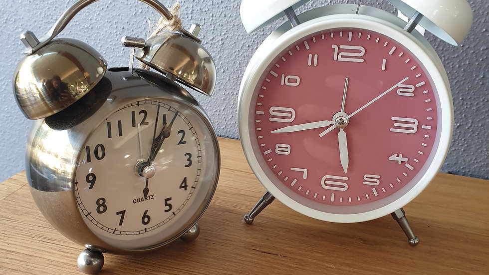 Pink & white alarm clock
