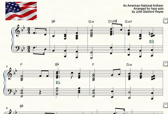 Star Spangled Banner - PDF Solo Harp