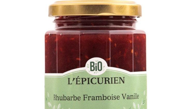 Confiture Rhubarbe-Framboise-Vanille 210G
