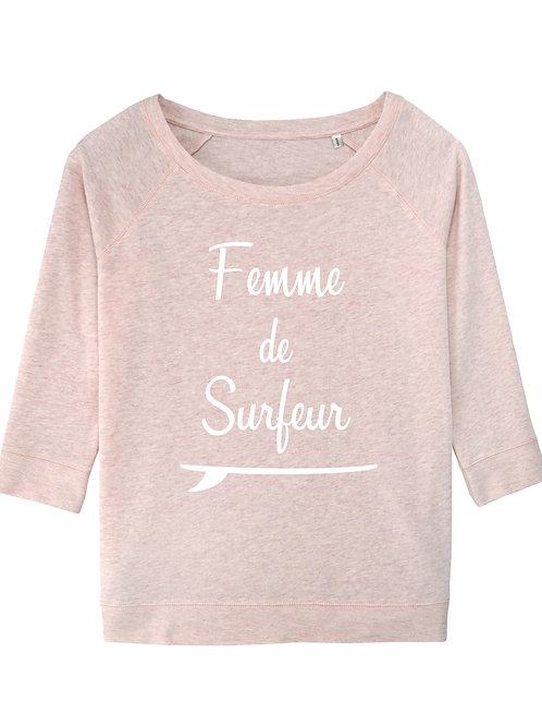 Sweatshirt Femme de surfeur 3/4 rose