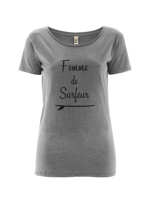 Tshirt femme de surfeur gris