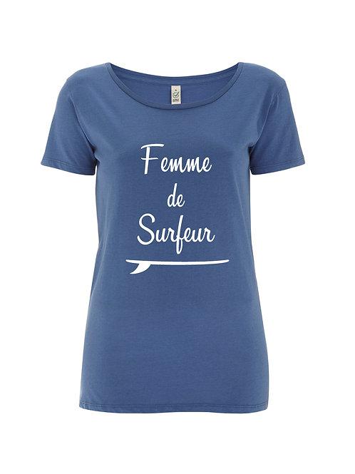 Tshirt femme de surfeur bleu jean