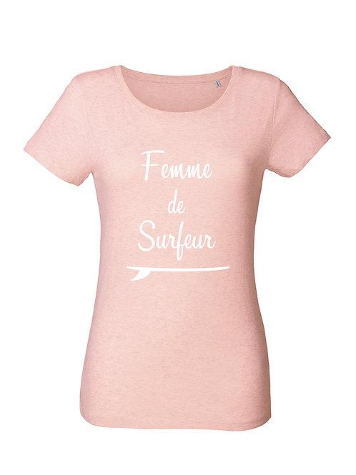 Tshirt femme de surfeur rose