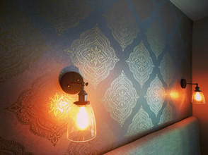 Capella Copper Medallion Wallpaper from the Avalon Collection by Brewster Home Fashions