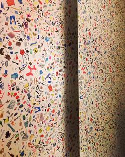 "Kids bathroom ""Too Much Stuff"" Flat Vernacular Wallpaper"
