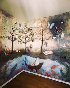 Enchanted Forest Mural by Rebecca Rebouche in a nursery