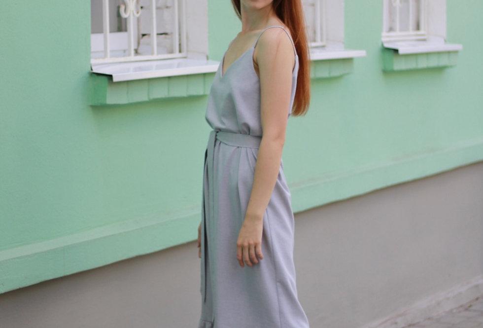 Платье комбинация с оборкой изо льна
