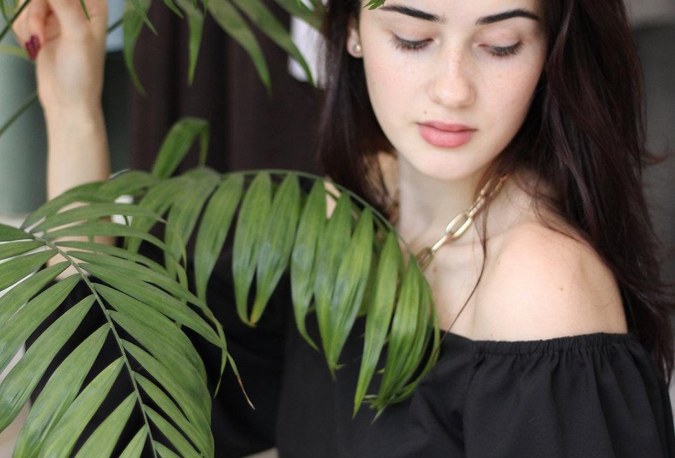 Блузка с вырезом каре и длинным рукавом