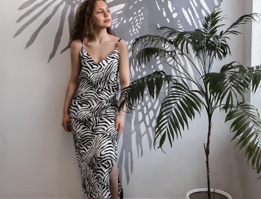 Платье комбинация из крепа
