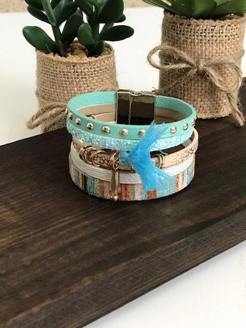 Bohemian Multi-layer Leather Tassel Bangle Cuff Charm Bracelet