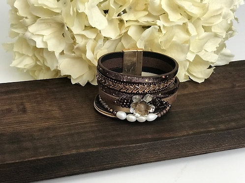 Leather Magnetic Charm Bracelet