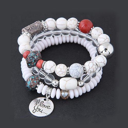 Crystal Beaded Alloy Love Pendant Stretch Multi-Bracelet