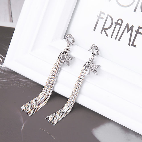 Star Tassel Crystal Earrings