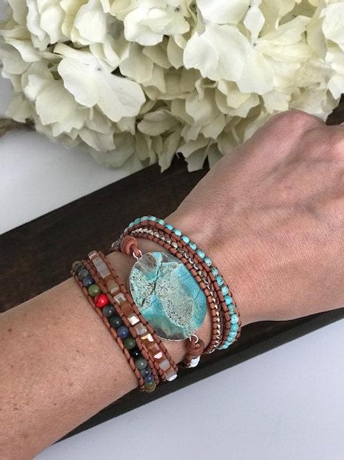 Boho Chic Leather Wrap Beaded Bracelet