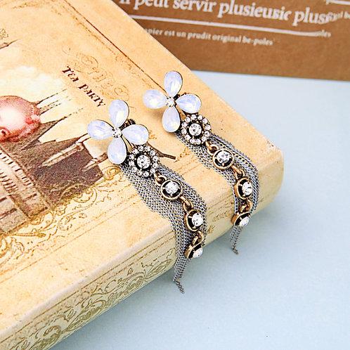 Silver Plated Tassel Clip On Earrings