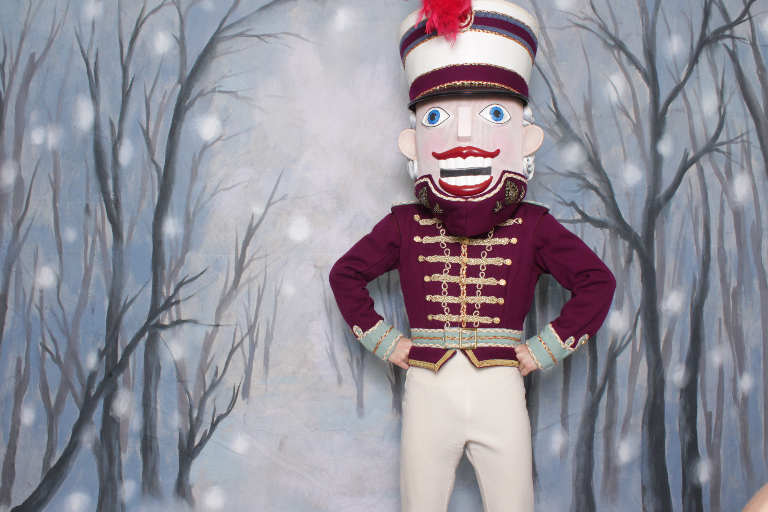The nutcracker posing for photos