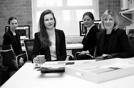 Catherine Wilman and her interior design team at the Notting Hill office in London